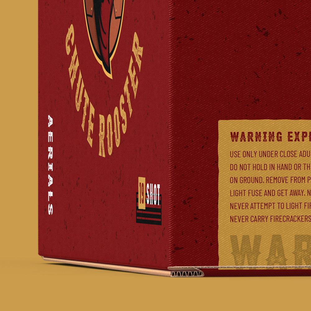 Warning label design on a firework package design for Starr Fireworks