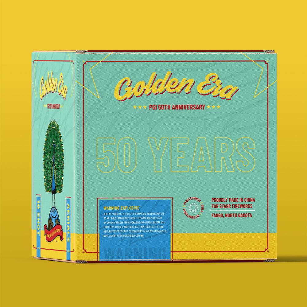 Backside of package design for Starr Fireworks golden era 50th Anniversary