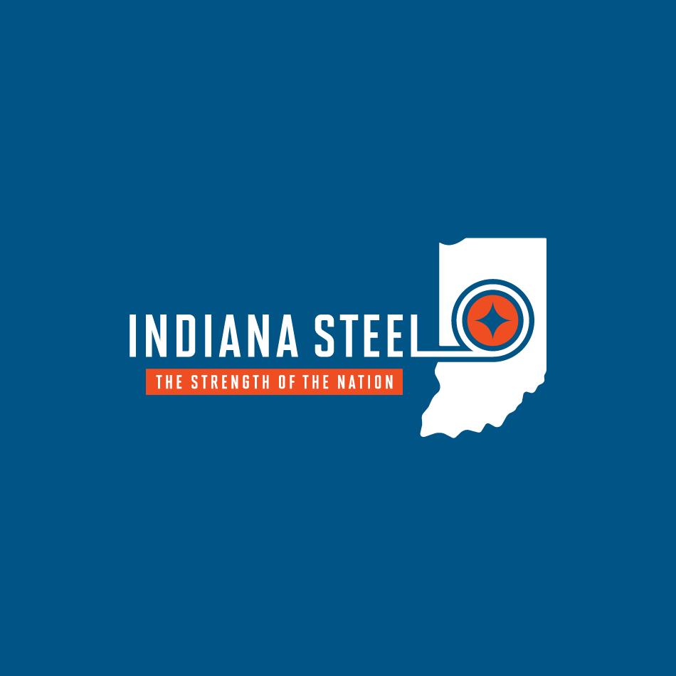 Indiana Steel Logo Design on Blue