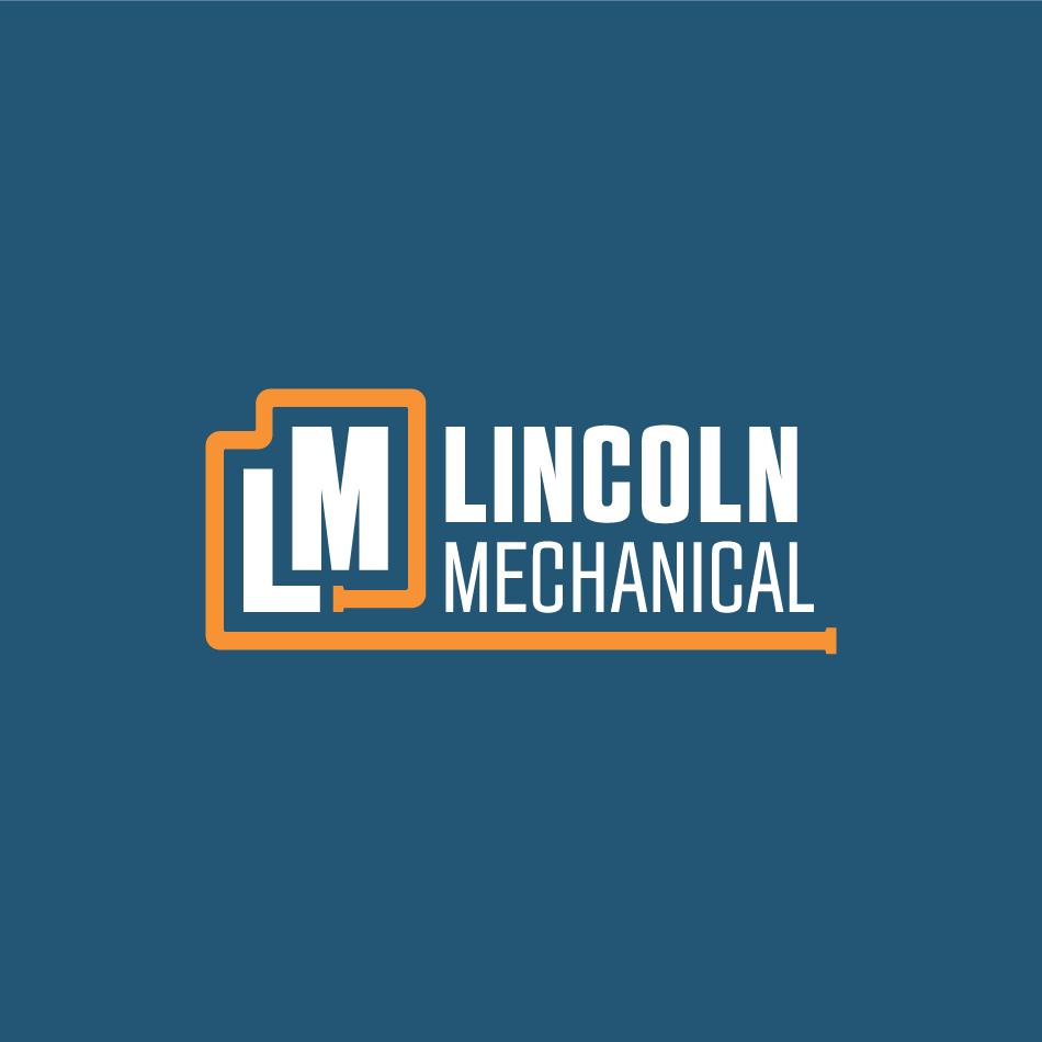 Lincoln Mechanical Combination Logo Design on Dark Blue