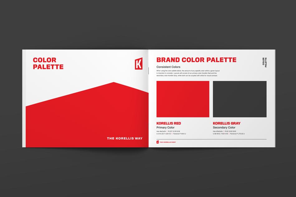 Korellis Brand Guideline Booklet Design, Brand Color Palette