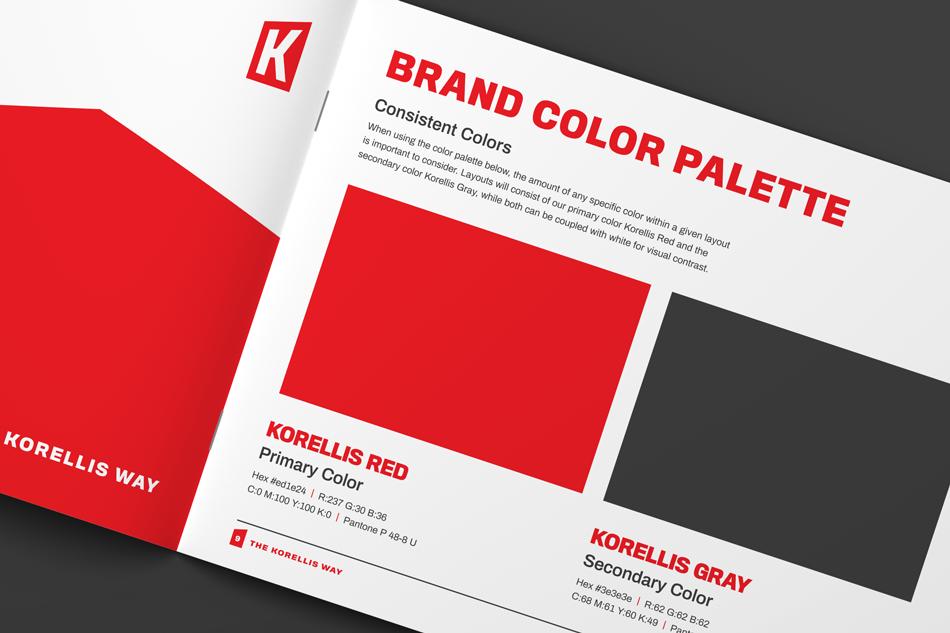 Korellis Brand Guideline Booklet Design, Brand Color Palette Close-up
