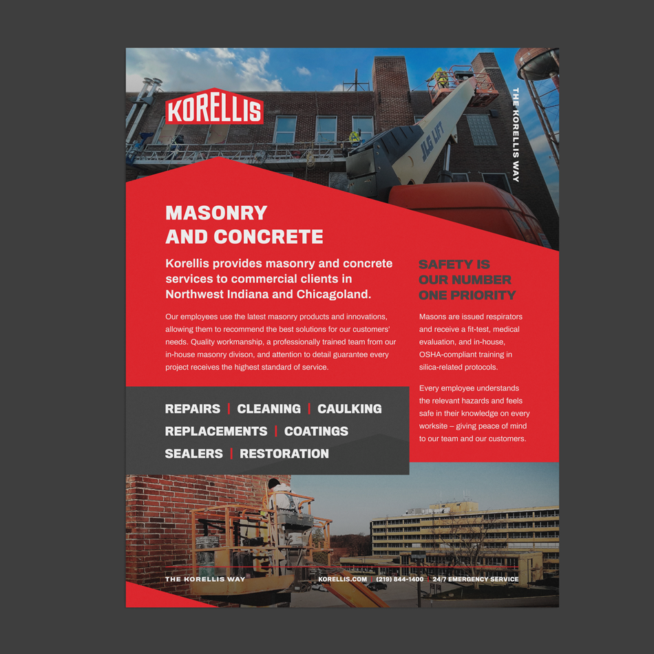 Korellis Masonry and Concrete Info Sheet Design