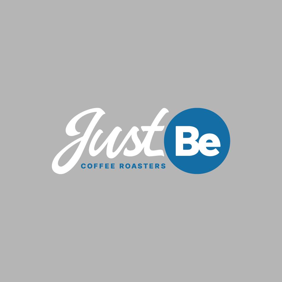 Just Be Coffee Roasters Wordmark Logo on Gray